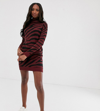 Brave Soul Tall zigby animal print roll neck sweater dress