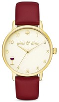 Kate Spade Wine Metro Leather Strap Watch, 34mm