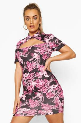 boohoo Plus Oriental Cut Out Bodycon Dress