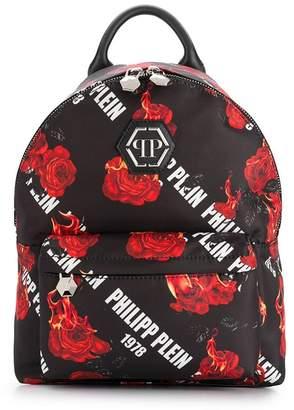 Philipp Plein rose print backpack