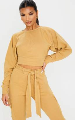 PrettyLittleThing Camel Crop Balloon Sleeve Knitted Jumper