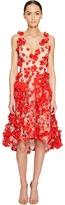 Marchesa Plunge High-Low Cocktail w/ Flower Petals Women's Dress