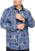 Claiborne Long Sleeve Paisley Button-Front Shirt-Big and Tall