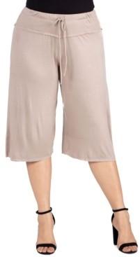 24seven Comfort Apparel Women's Plus Size Drawstring Gaucho Pants