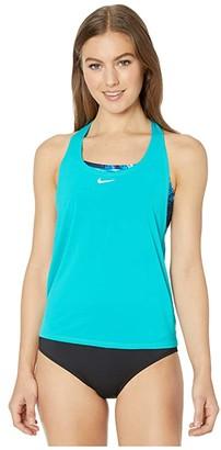 Nike Blur Layered Tankini (Oracle Aqua) Women's Swimwear