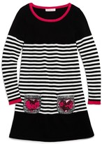 Design History Girls' Sequin-Pocket Striped Knit Dress - Sizes 2-6X