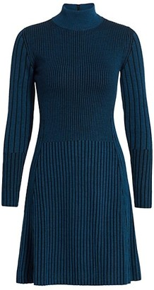 Akris Punto Striped Turtleneck Wool Dress