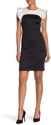 Modern American Designer Two-Tone Flutter Sleeve Sheath Dress