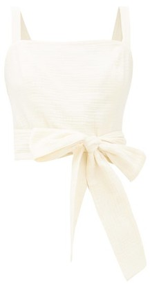 Loup Charmant Pilos Cotton Wrap Crop Top - Cream