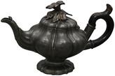 One Kings Lane Vintage Antique English Pewter Miniature Tea Pot - Rose Victoria - pewter/brown