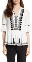 Kate Spade Women's Pom Embroidered Top