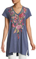 Johnny Was Adeline Short-Sleeve Draped Long V-Neck Tunic