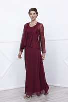 Unique Vintage Burgundy Sleeveless Lace Long Dress with Jacket