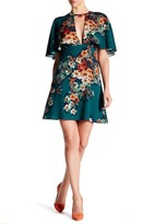 ABS by Allen Schwartz V-Cut Printed Capelet Dress
