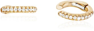 Ef Collection 14ct Yellow Gold And Diamond Small Ear Cuff (single)