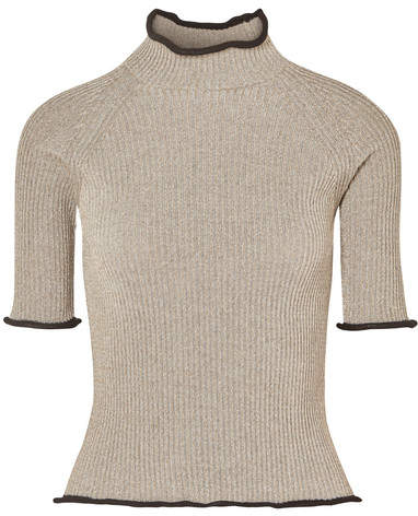 Golden Goose Alya Metallic Ribbed-knit Turtleneck Top - Beige