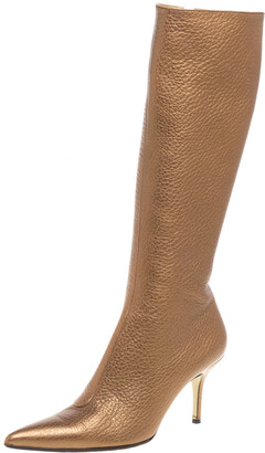 Dolce & Gabbana Metallic Beige Textured Leather Pointed Knee Boots Size 40.5
