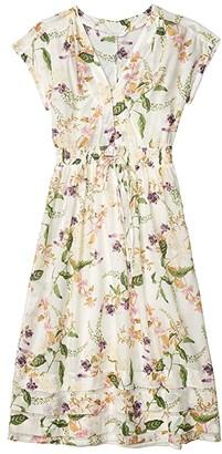 Lucky Brand Floral V-Neck Midi Dress (Natural Multi) Women's Clothing
