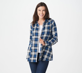 Joan Rivers Classics Collection Joan Rivers Button Front Swing Style Plaid Shirt