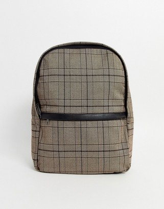 Asos DESIGN backpack in brown check