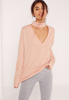 Missguided Tall Nude Choker Neck Sweatshirt