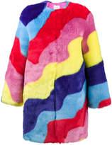 Mira Mikati faux fur rainbow wave coat