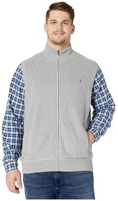 Polo Ralph Lauren Big & Tall Big Tall Zip-Up Knit Vest (Andover Heather) Men's Clothing