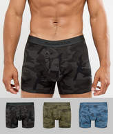 Abercrombie & Fitch 3 Pack Trunks All Over Camo Print In Black/Green/Blue
