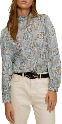 MANGO Pleated Floral Blouse
