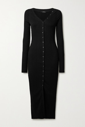 The Range Division Ribbed-knit Midi Dress - Black