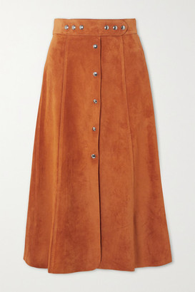 Prada Suede Midi Skirt - Orange