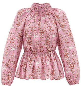 Rhode Resort Damien Floral-print Open-back Cotton Blouse - Pink Print
