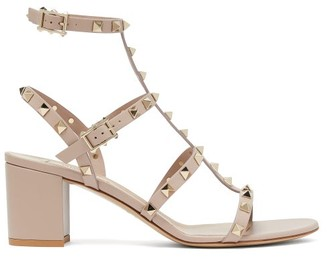 Valentino Rockstud Block-heel Leather Sandals - Nude