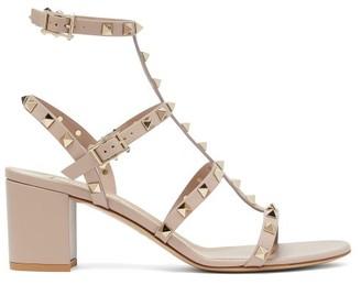 Valentino Rockstud Block-heel Leather Sandals - Womens - Nude