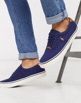 Polo Ralph Lauren thornton plimsoll in navy with leather laces