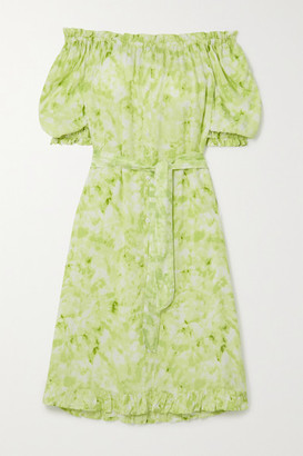 Faithfull The Brand Saint Jean Off-the-shoulder Ruffled Tie-dyed Crepe Nightdress - Green