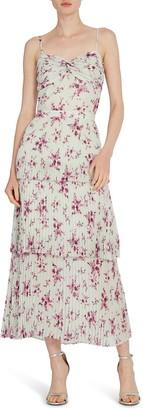 ML Monique Lhuillier Tiered Pleat Midi Dress