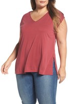 Lucky Brand Plus Size Women's Slit Sleeve V-Neck Tee
