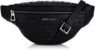 Jimmy Choo DERRY Black Embossed Stars on Grainy Leather Shoulder Bag