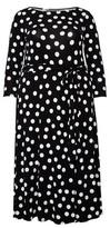 Dorothy Perkins Womens Billie & Blossom Curve Black Polka Dot Print Mono Jersey Midi Dress, Black