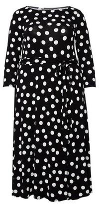 Dorothy Perkins Womens **Billie & Blossom Curve Black Polka Dot Print Monochrome Jersey Midi Dress, Black