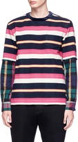 Sacai Check plaid sleeve stripe flannel sweatshirt