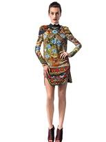 Just Cavalli Flower Mandala Print Crepe Dress