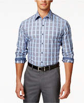Tasso Elba Men's Big and Tall Long-Sleeve Grid Pattern Shirt, Only at Macy's