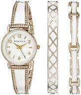 Anne Klein Women's AK/2052WTST Swarovski Crystal Accented Gold-Tone and White Watch and Bracelet Set