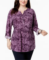 NY Collection Plus Size Printed Utility Tunic