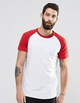 Pull&bear T-shirt With Raglan Sleeve In Red
