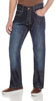 Southpole Men's 4180 Relaxed-Fit Shiny Streaky Jean in Dark Sand Blue