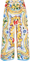 Dolce & Gabbana Printed Cotton-poplin Culottes - Yellow