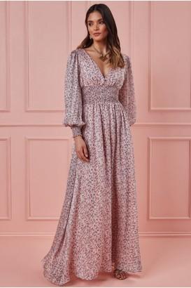 Goddiva Long Sleeve Floral Print Maxi with Shirred Waistband